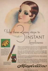 Постер рекламы Maybelline (1920 год).