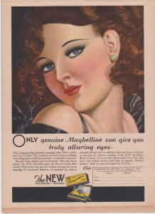 Постер рекламы Maybelline (1932 год). Only geniue maybelline can give you trully alluring eyes