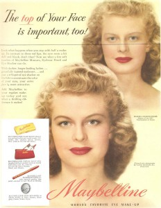 Постер рекламы Maybelline (1949 год). The top of your face is important too!