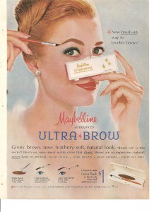 Постер рекламы Maybelline (Ultra Brow, 1964 год).