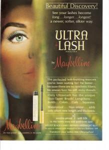 Постер рекламы Maybelline (Ultra Lash, 1964 год).