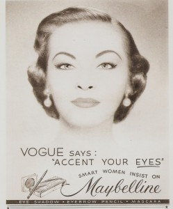 "Постер рекламы Maybelline (Vogue). Vogue says: ""Accent your eyes"""
