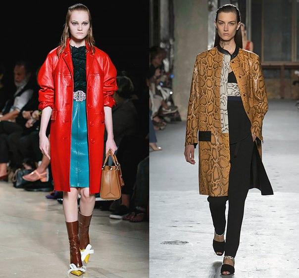 Кожанные пальто весна лето 2015