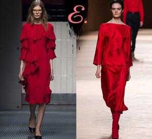 Мода осень-зима 2015-2016: Красные платья